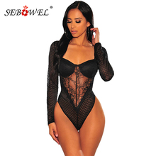 SEBOWEL Sexy Sheer Black Lace Women Bodysuit with Cups Spring Autumn Bodycon Long Sleeve Bodysuits Female Club Clothing Body Top