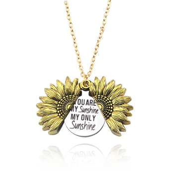 You are my sunshine My only Sunshine Necklace Open Locket Sunflower Pendant Necklace for Women Custom Letter Necklace gift image