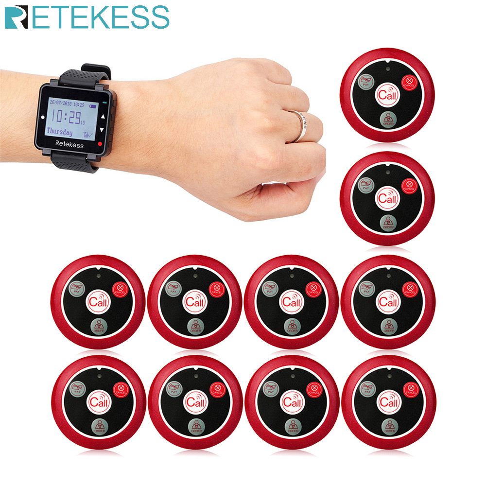 Retekess Wireless Waiter Calling System For Restaurant Black Watch Receiver+10 Call Buttons Customer Service Wireless Pagers