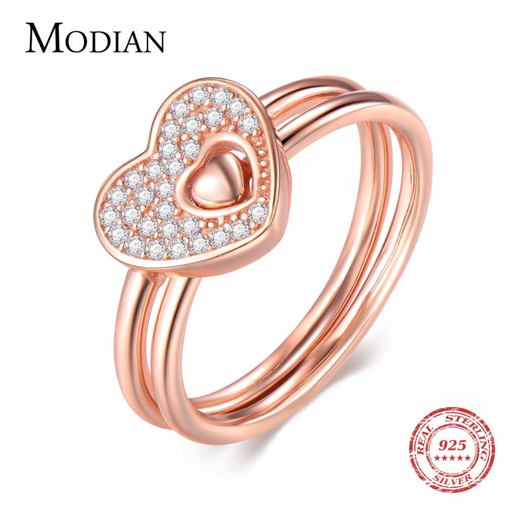 Modian 2019 New Authentic 925 Sterling Silver Cuori Anello In Oro Rosa di Modo di Colore Dito Impilabile Aggancio di Cerimonia Nuziale Dei Monili