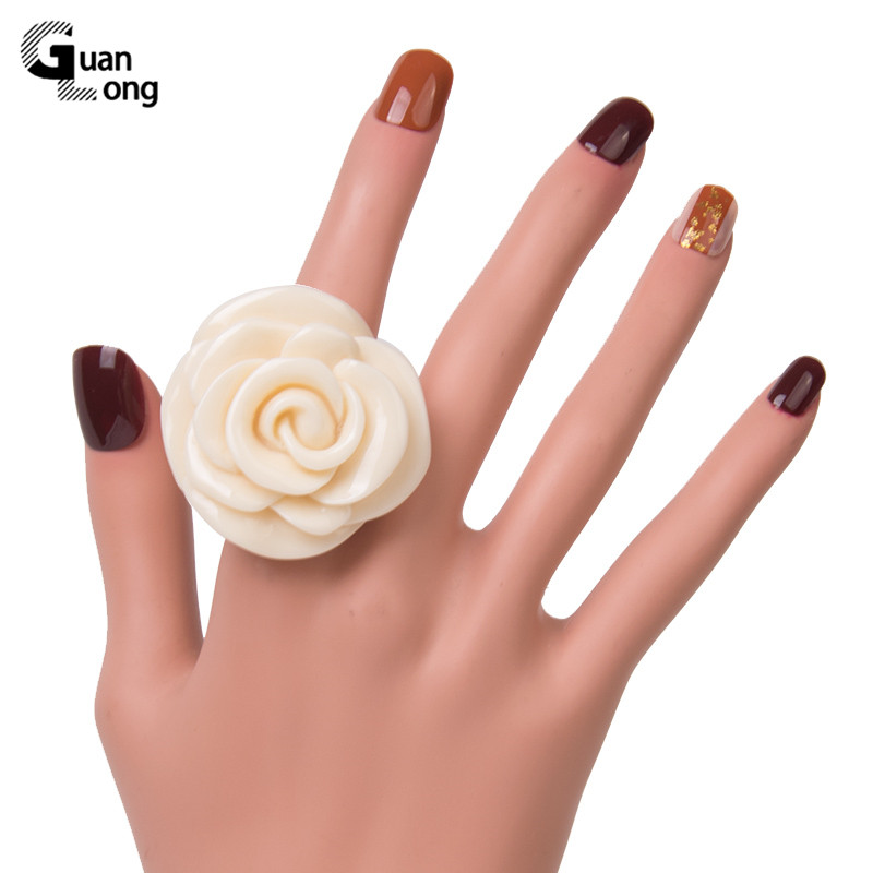 Guanlong Acrylic Rose Flower Engagement Women's Rings Fashion Jewelry Resin Vintage Wedding Ring for Girls Female Punk Rings 2