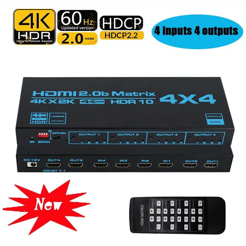 Interruptor 4x4 da matriz de hdmi, divisor 4 do switcher da matriz de 4k hdmi em 4 para fora a caixa com o extrator de edid e o controle remoto do ir