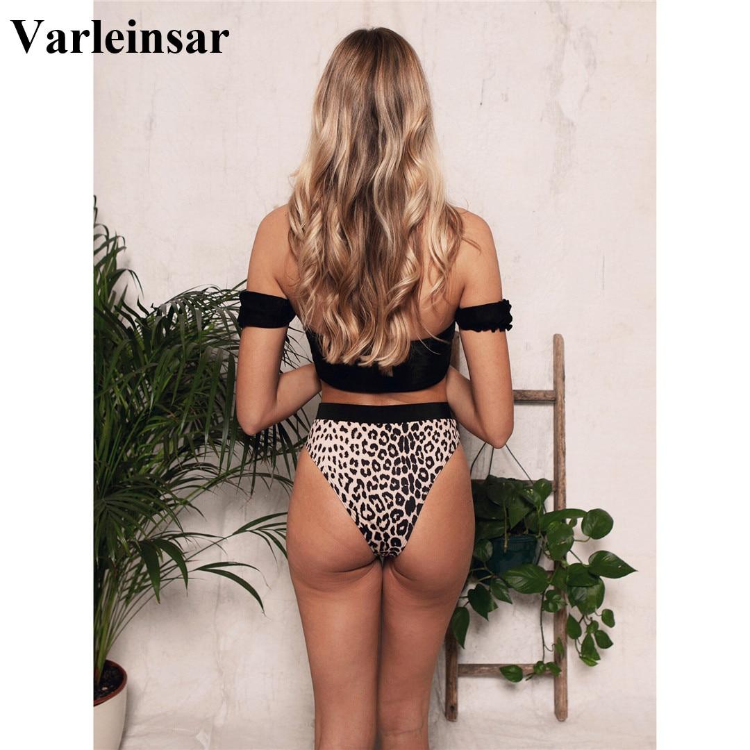 2020 Sexy Black Off Shoulder Bra Swimsuit High Waist Bikini Women Swimwear Two-pieces Bikini set Bather Bathing Suit Swim V1847 3