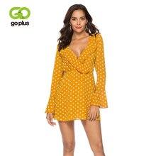 GOPLUS New Ruffles Chiffon Flare Sleeve Dress Female Party Night Club Dresses 2019 Spring And Autumn V-Neck Polka-Dot