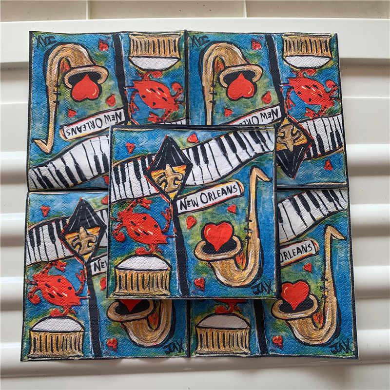 25cm papier serviette élégant tissu belle gare musique mouchoir huile artisanat découpage anniversaire enfant fête serviettes