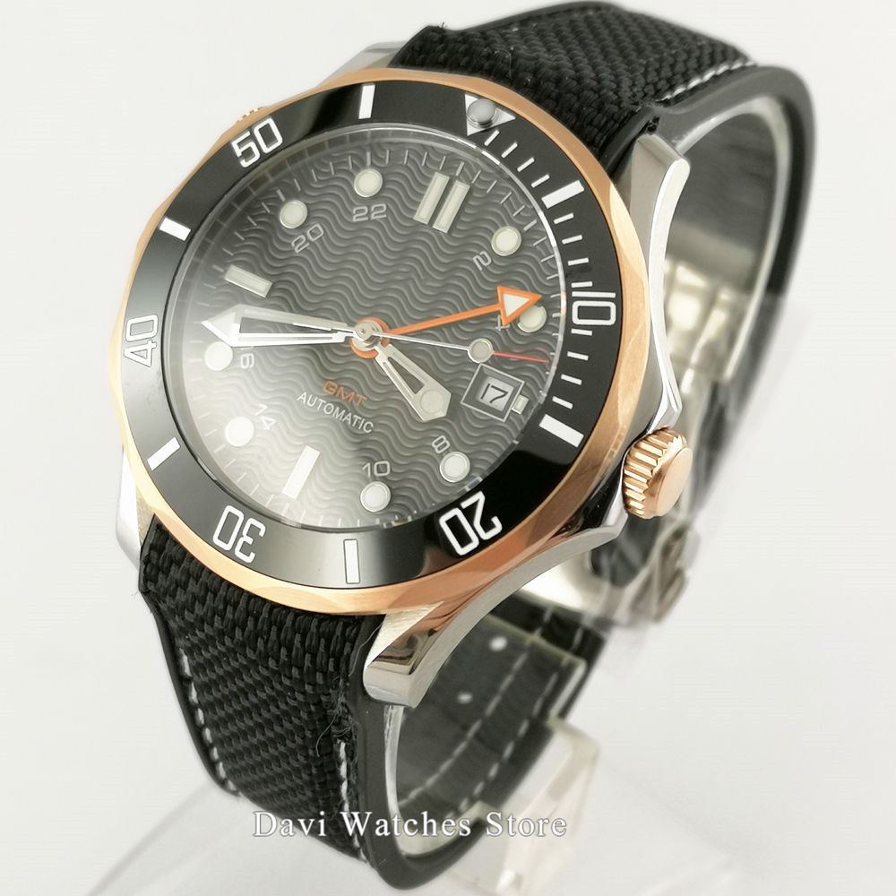 Sapphire Glass 41mm black dial Automatic Watch Men Date GMT Function Window Rotating Bezel