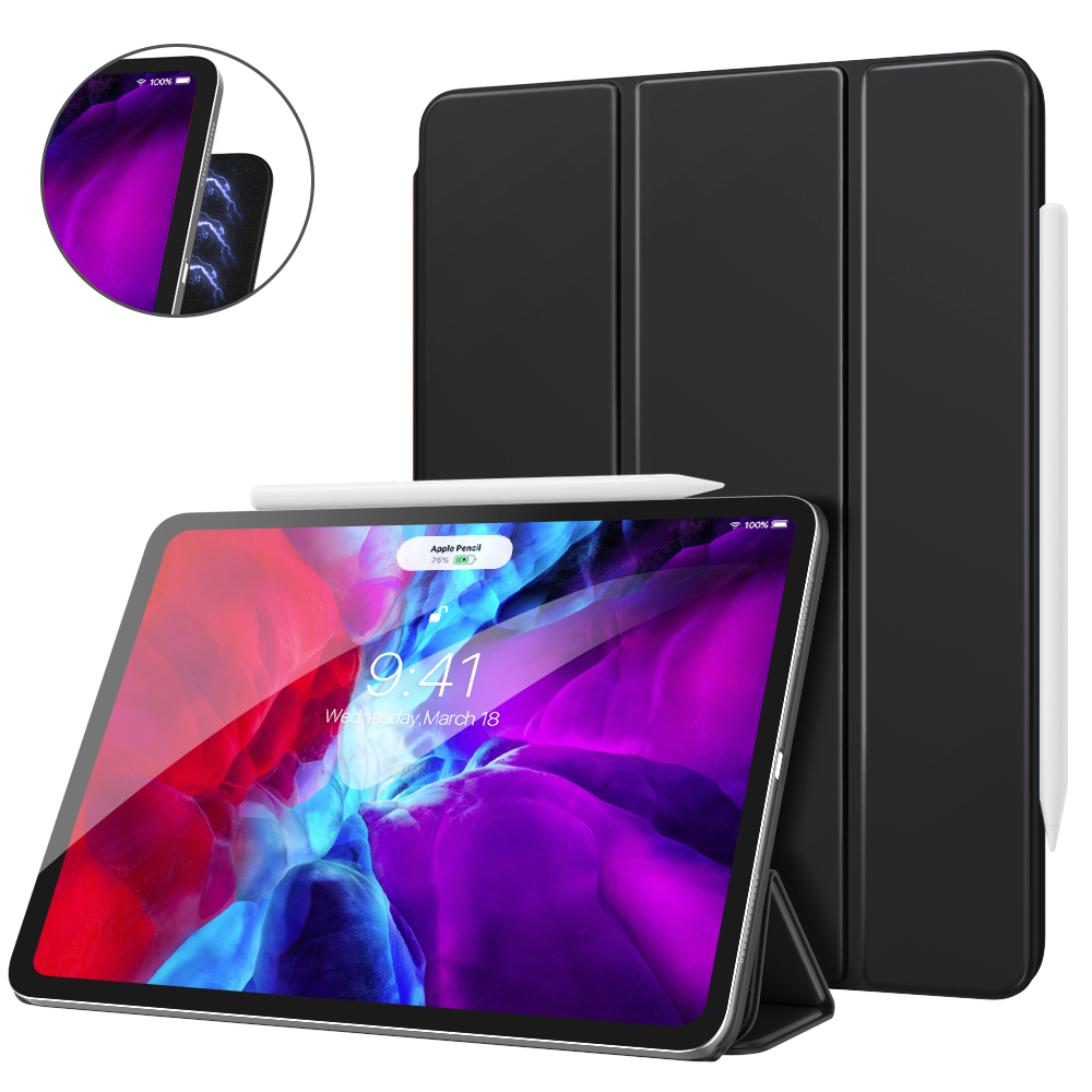 Smart Folio Case For IPad Pro 12.9 2020 4th Generation[Support Magnetically Attach Charge/Pair] Slim Lightweight Smart Shell
