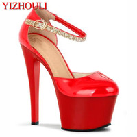 17 18cm ultra sexy high heels crystal sandals performance shoes 6 inch closed toe princess transparent dance shoes