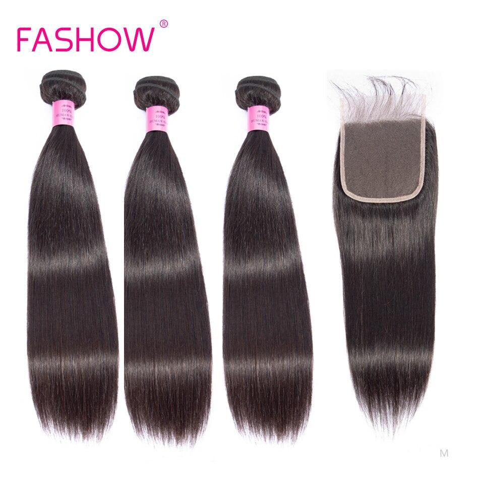 Fashow – mèches indiennes naturelles Remy avec Closure, cheveux lisses, couleur naturelle, 4x4, pour femmes, 3/4 pièces