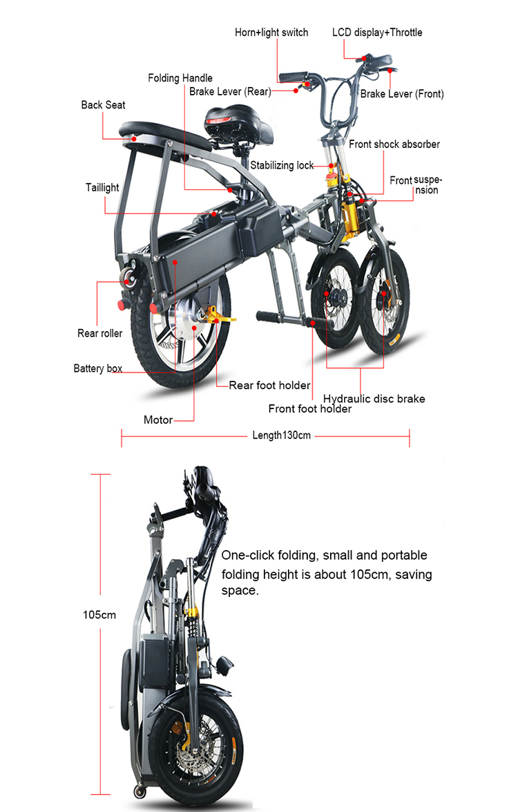 JX003 Chinese 48V 350W folding scooter electric tricycle 2