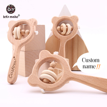 Stroller Toy Wooden-Ring Educational-Toys Montessori Baby Rattles Play Gym Hand-Teething