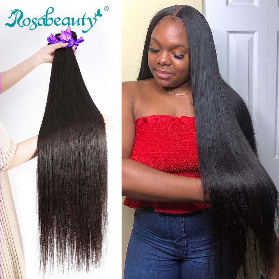 Rosa Beauty Hair Brazilian Hair Weave Bundles Straight 100% Human Hair Extension Weft Remy Hair 28 30 32 40 Inch Double Drawn