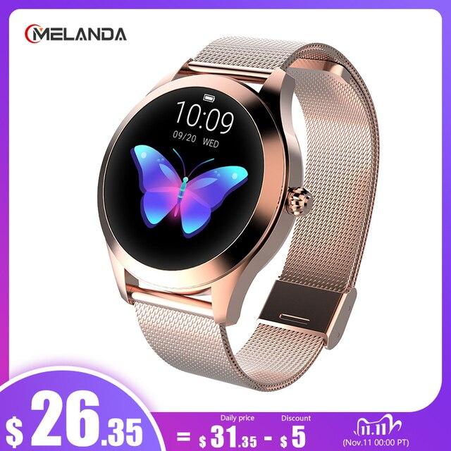IP68 su geçirmez akıllı saat kadınlar güzel bilezik nabız monitörü uyku izleme bağlayın IOS Android KW10 bant