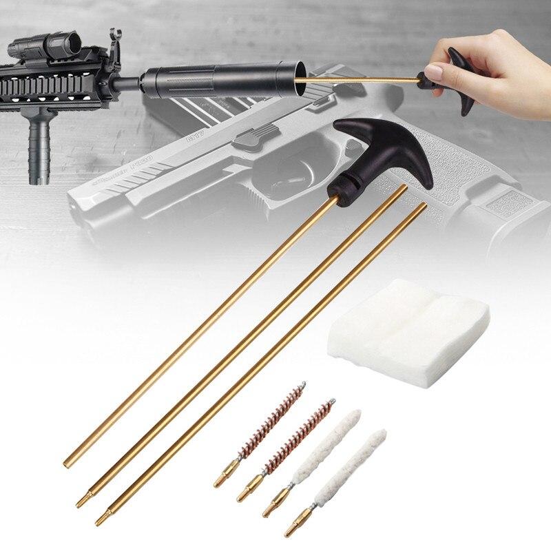 y 0,22 XBF-HUNT Juego de Herramientas de Limpieza para Pistolas de Caza 177 Rifle de Aire Airsoft Pistola Barril Kit de Limpieza Pistola Varilla Cepillo para Caza 1 Juego 4,5 mm 5,5 mm