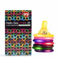 10PCS Hello Sex Natural Latex Rubber Multicolour Condom For Men Contraception Intimate Goods Big Lubricated Adult Products HBM