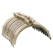 Haofa 10 pièces 12.5cm Bronze porte monnaie cadre Lotus tête baiser fermoir sac à main cadre bricolage sac à main faisant nouveau sac cadre pièces matériel