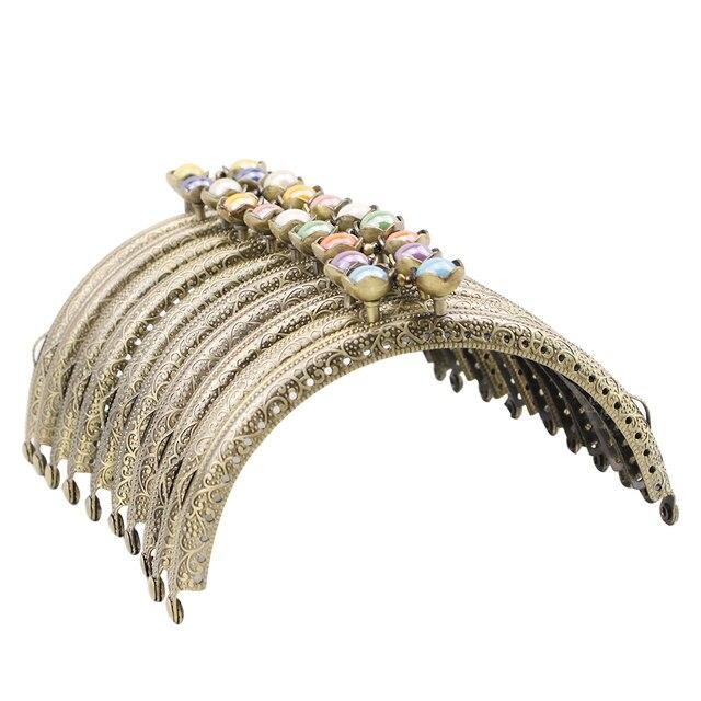 Haofa 10 sztuk 12.5cm brązu monety kiesy rama lotosu głowy pocałunek zapięcie torebka rama DIY torebka Making nowa torba rama części sprzętu