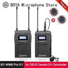 Boya BY-WM8 pro k1 uhf sistema de microfone sem fio 48 canais 100m faixa display lcd para dslr câmera filmadora eng efp filme vlog