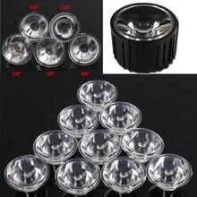 10 шт./компл. 20mm 10 pcs/30/60/90/120 градусов оптический светодиодные стеклянные линзы рефлекторный Коллиматор для 1 Вт, 3 Вт, 5 Вт, светодиодный светильник лампа E27 MR16 GU10