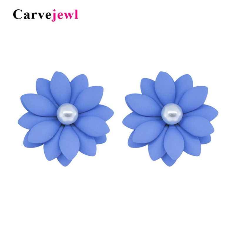 Carvejewl flower stud earrings rubber coating daisy earrings for women jewelry pearl earrings girl gift fashion Korean earrings