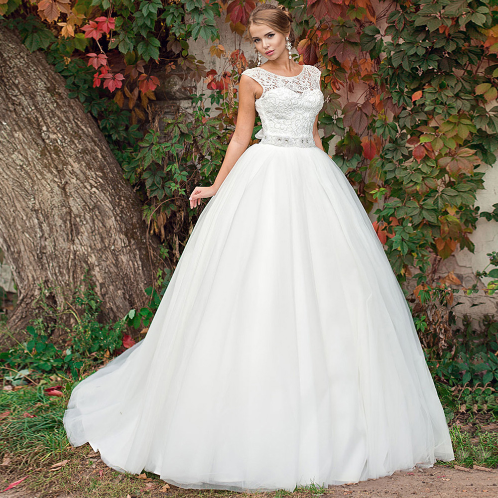 New Listing Lace Tulle Ball Gown Wedding Dresses With Detachable Beaded Crystal Belt Vestidos Blancos Alibaba China Bride Gowns