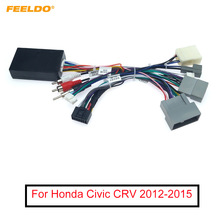 FEELDO Car Audio Radio CD Player 16PIN Android Power Calbe Adapter With Canbus Box For Honda Civic CRV Media Wiring Harness
