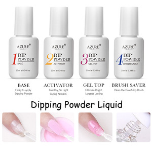 Image 3 - Azure Beauty 30Pcs/Lot Dipping Powder Full Set Glitter Gradient Color Nail Dip Powder Base Top Gel Activator Brush Saver Set