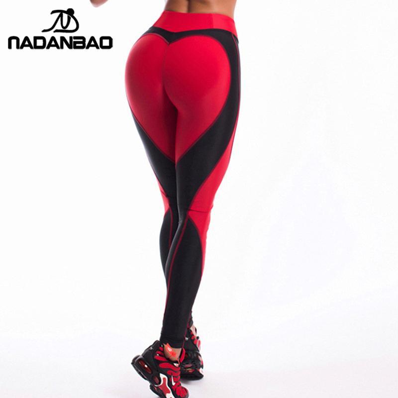 NADANBAO New Arrival Heart Shape Love Leggings Women Sporting High Waist Fitness Leggins With Pocket Plus Size Workout Pants