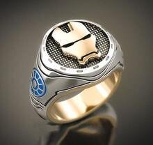 RICKI tony stark jewelry Hot Sales Shiny Gold Color Bevel Iron Man New Men's Comfort Wedding Two color ring