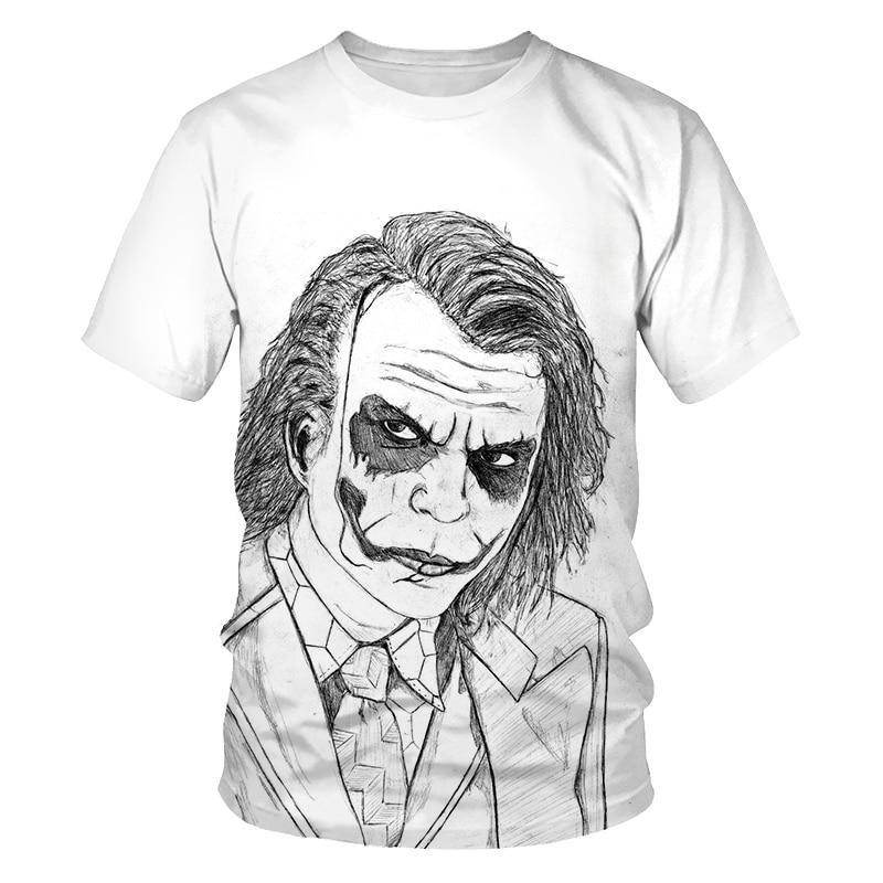 Horror Movie The Clown white Joker 3D Print Tshirt Men/Women Hip Hop Streetwear Tee T-shirt Funny T shirts Male Clothes