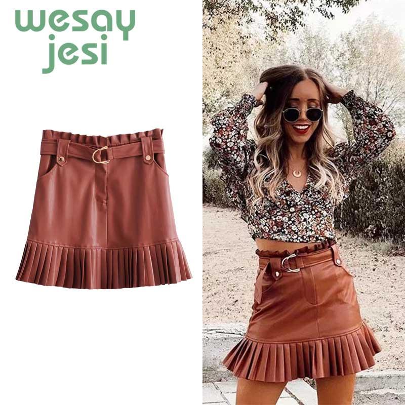 Women Leather Skirt Faux Mini Women Skirt Autumn 2019 High Waist Double Pockets Pu Streetwear Casual A-line Short Skirts Womens