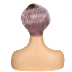 Image 5 - Trueme Lace Curved Part Short Human Hair Wigs Ombre 613 Blonde Purple Red 100% Remy Brazilian Hair Pixie Cut Lace Front Wig