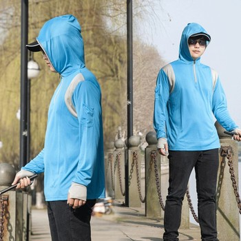 Fashion Outdoors Sports Mens Casual Long Sleeves Tops Hoodie Sweatshirts Fishing Suit Zipper Blouse Spring Autumn M805