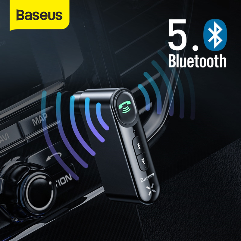 Baseus Car Aux Bluetooth 5.0 Adapter Wireless 3.5mm Audio Receiver For Auto Bluetooth Handsfree Car Kit Speaker Headphone