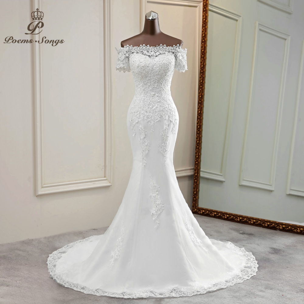 Lace Wedding Dress Mermaid Wedding Gowns Marriage Elegant Bride Dress Short Sleeves Vestidos De Novia 2020 Sexy  Boat Neck