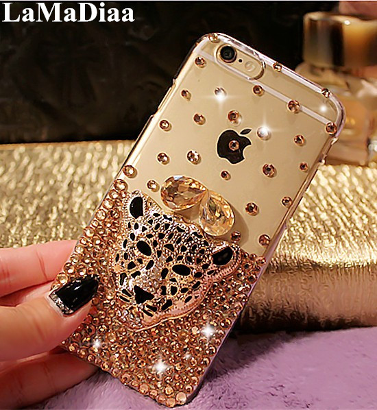 Luxury Hot Tiger Leopard Head Diamond Rhinestone Crystal Bling Phone Cases For iphone 11 Pro MAX X XS MAX XR 5S SE 6 6S 7 8 Plus