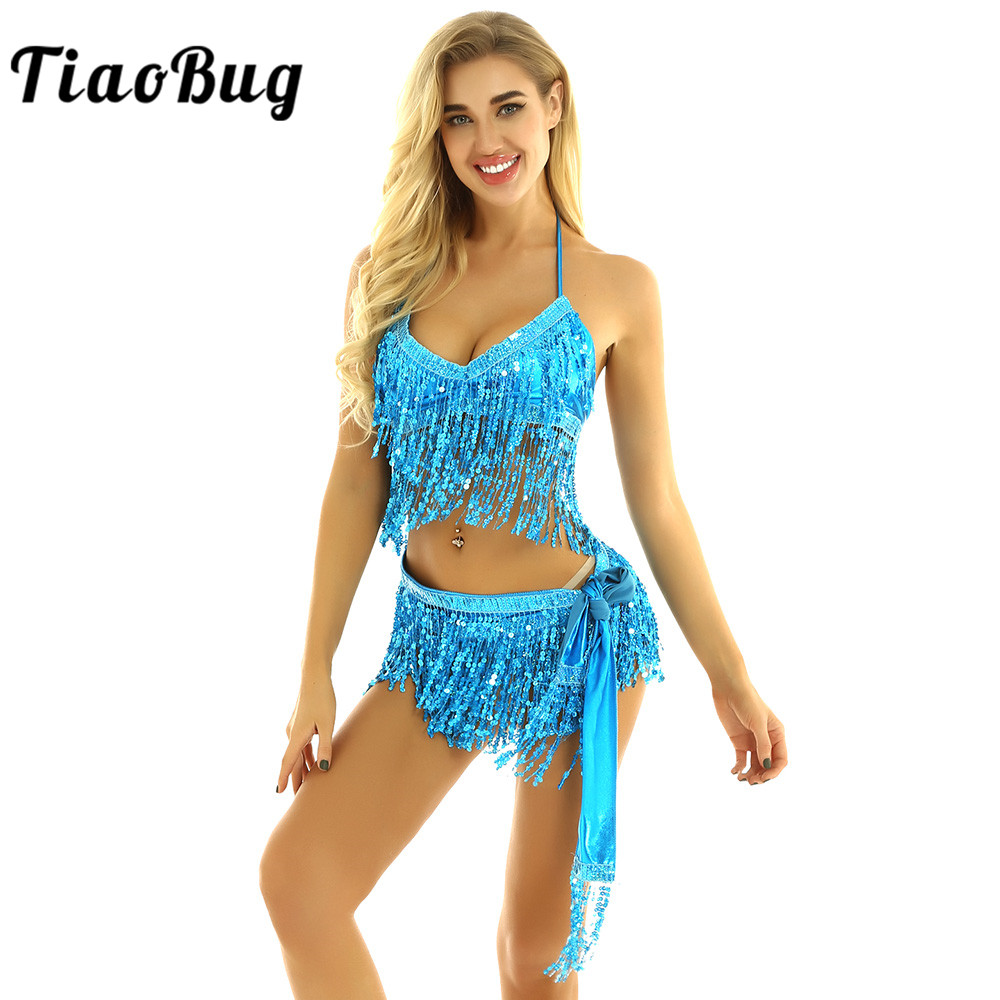 TiaoBug Women Shiny Sequins Tassels Carnival Rave Performance Belly Dance Costume Halter Bra Tops With Hip Scarf Wrap Skirt Set