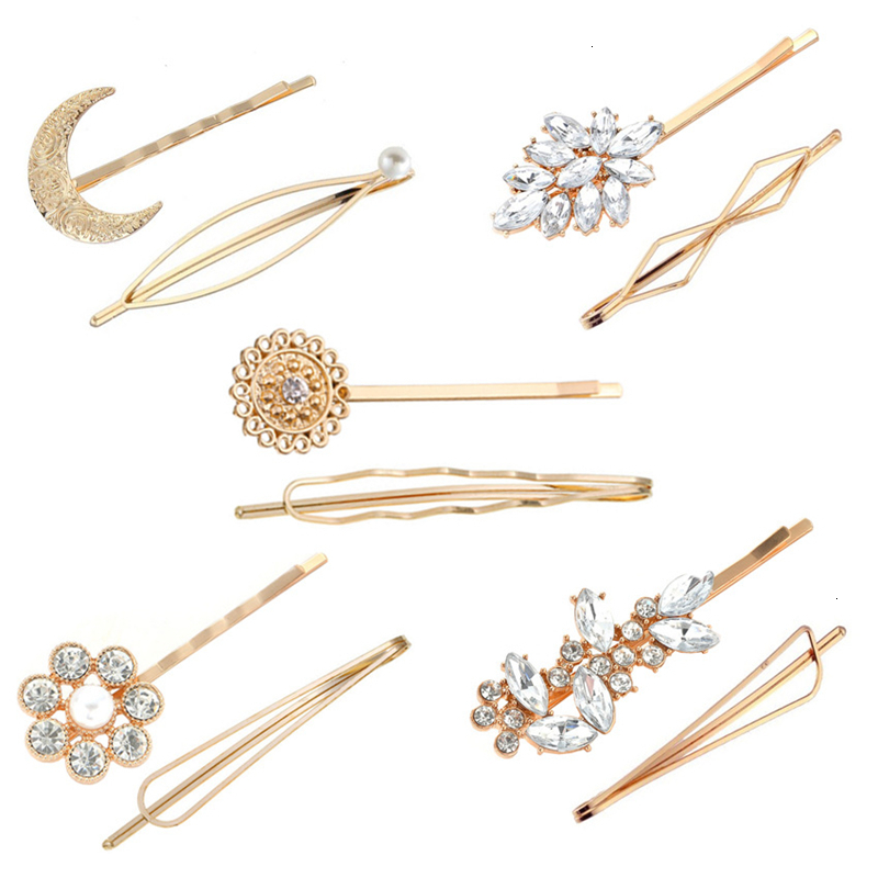2pcs Simple Elegant Women Girls Hairpins Hair Clip Set Pearl Crystal Hair Accessories Headwear Geometric Moon Flower Barrettes