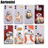 Aertemisi 100 Pieces Phone Cases Star Wars BB 8 Clear TPU Case Cover for iPhone 6 6s 7 8 Plus X XS XR 11 Pro Max
