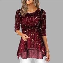 Irregular Women Blouses Shirt Dot Print Plus Size 5XL Female Tunic O Neck 3/4 sl