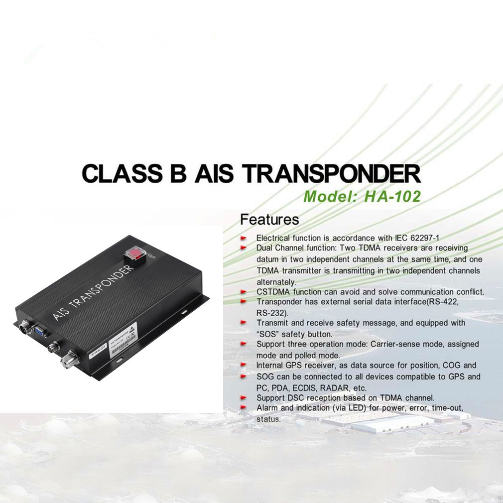 New  HA-102 Marine AIS Receiver And Transmitter System CLASS B AIS Transponder Dual Channel Function CSTDMA Function