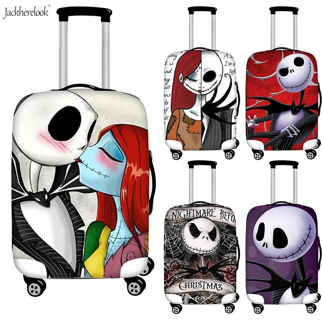 Jackherelook Elastic Suitcase Dustproof Cover The Nightmare Before Chrismas Printed Luggage Bag Sheet Outdoor Baggage Bag Covers