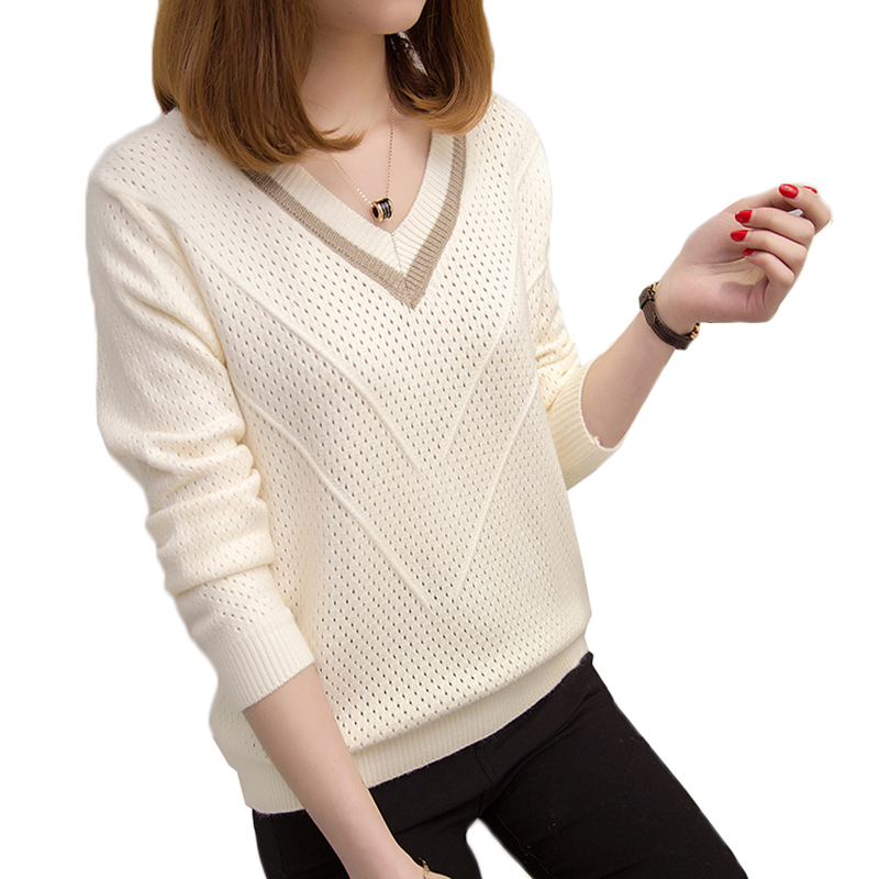 V-neck Loose Short Knit Pullover Women Sweater long-sleeve Thin Sweater 2020 Spring Autumn Fashion Plus Size Casual Tops Female