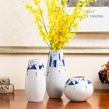 Керамическая ваза, домашний декор украшения синий и белый креативный образец Ремесла современный минималистский ваза для украшения интерьера