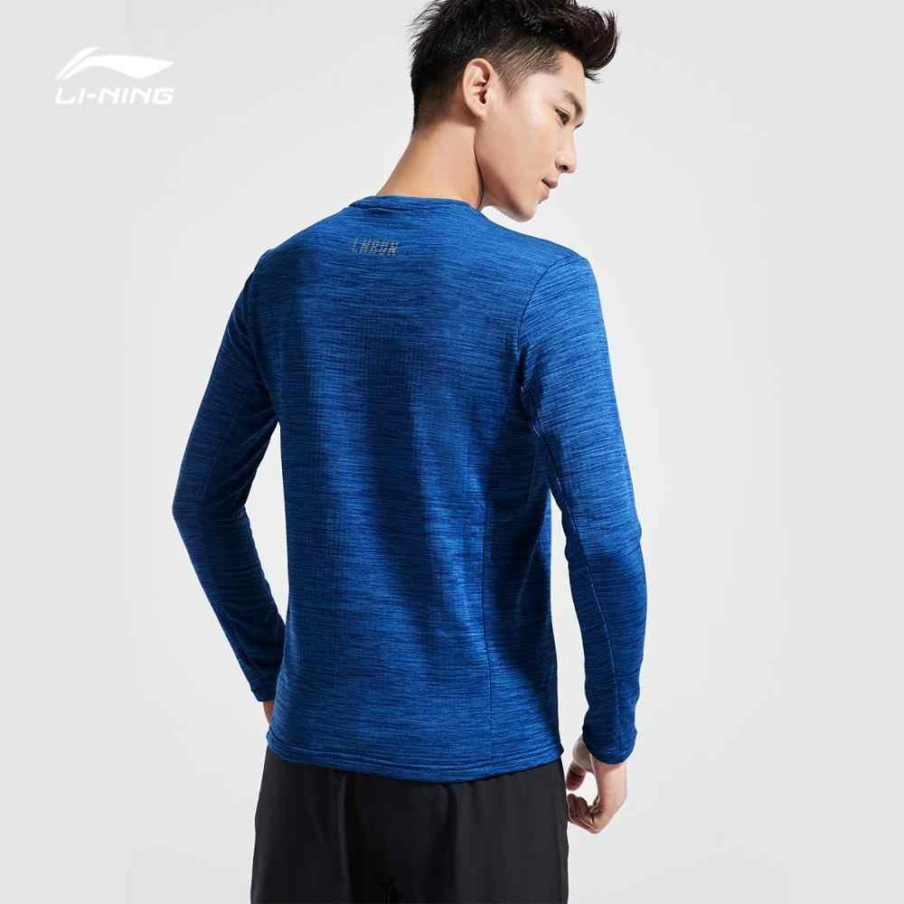 Li-Ning の男性稼働シリーズ Tシャツ長袖暖かいシェル 95% ポリエステル 5% スパンデックスレギュラーフィット裏地スポーツトップス ATLN141 MTL996
