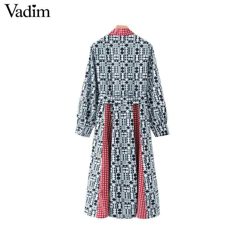 Vadim נשים אופנה הדפסת midi שמלת עניבת פרפר אבנט טלאים ארוך שרוול נקבה אמצע עגל מקרית שמלות vestidos QD124