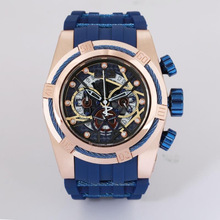New Color Gold Watch All Sub Dials Work Men Sport Watches Chronograph Auto Date Rubber Band Wrist Watch For Male|Quartz Watches| |  - AliExpress