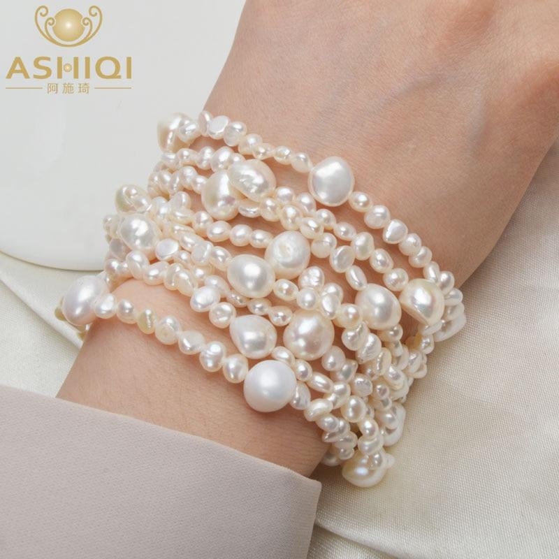 ASHIQI Multilayer Natural Freshwater Pearl Bracelet for women Gorgeous 8 Strand Bracelets 4-10mm Jewelry