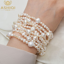 ASHIQI Multilayer Natural Freshwater Pearl Bracelet for women Gorgeous 8 Strand Bracelets 4-10mm Pearl Jewelry стоимость