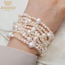 ASHIQI Multilayer Natural Freshwater Pearl Bracelet for women Gorgeous 8 Strand Bracelets 4-10mm Pearl Jewelry gorgeous multilayer knitted braid alloy cuff bracelet for women